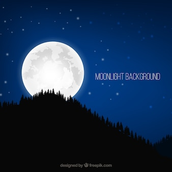 Realistic background with trees and full moon