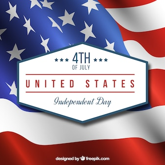 Realistic background with wavy flag for independence day