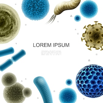 Realistic bacteria and viruses template with germs bacterial and viral cells of different shapes  illustration