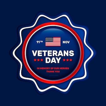Realistic badge of veterans day