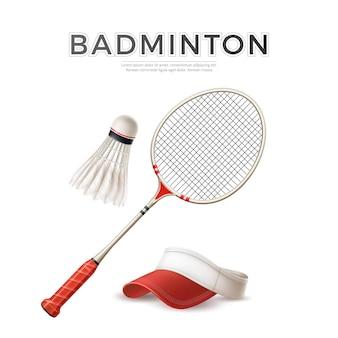 Realistic badminton racquet with shuttlecock