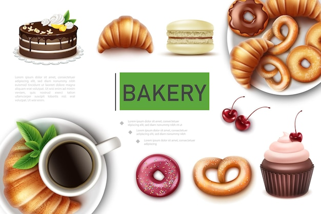 Realistic bakery and sweet products concept with pie croissant macaroon donuts pretzel cupcake cup of coffee  illustration