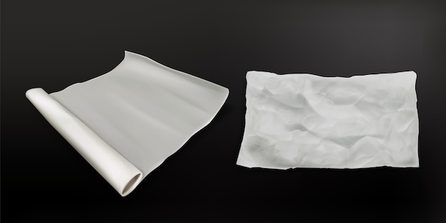 사실적인 베이킹 페이퍼, 요리 용 기름칠 방지 양피지 스크롤, 흰색 구겨진 시트 질감 및 펼쳐진 새로운 롤 상단보기. 검은 표면 3d 벡터 일러스트 레이 션에 고립 된 베이커리 주방