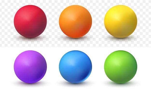 白い透明な背景に設定されたリアルなボール3dカラフル