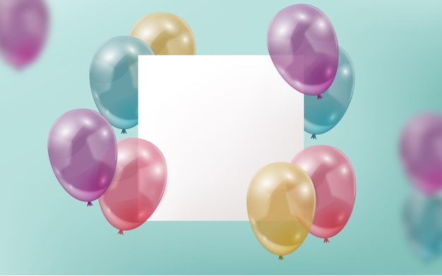 Realistic ballons with blank banner