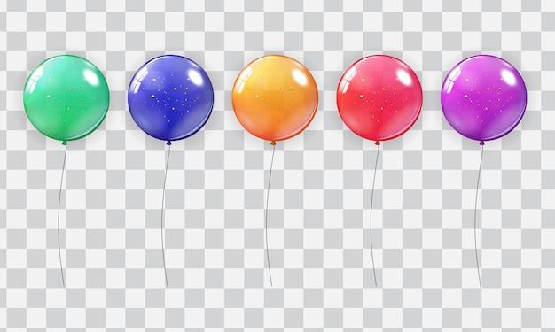 Набор сбора реалистичные воздушный шар, изолированные на прозрачном фоне.