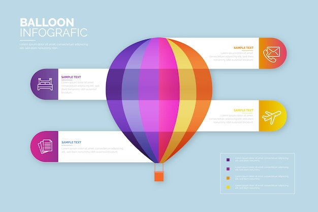 Реалистичные воздушный шар инфографики шаблон