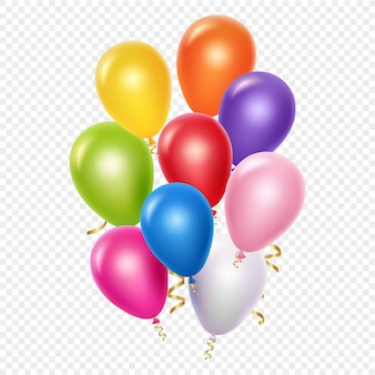 Realistic balloons background template. balloons and golden ribbons  on transparent background