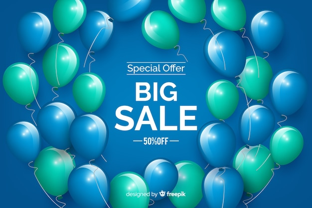 Realistic balloons big sales background