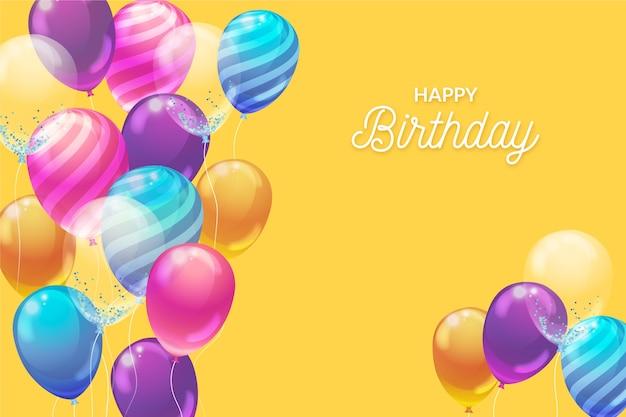 Realistic balloons birthday background