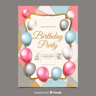 Realistic balloons birthday invitation template