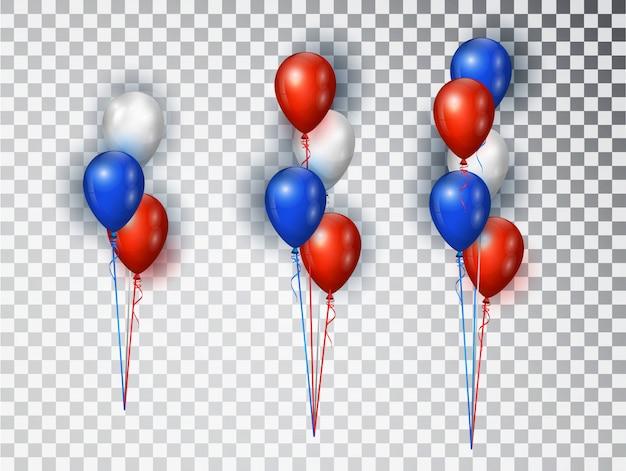赤、青、白の色で現実的な風船の組成。国民の休日の背景や誕生日パーティーのために分離された要素