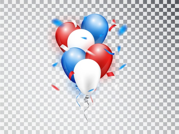 Realistic balloons composicion in red, blue and white colors.  elements isolated for national holiday backgrounds or birthday party
