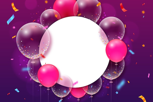 Realistic balloons and confetti with copy space background