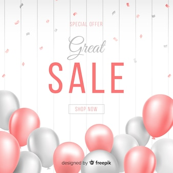 Realistic balloons decorative sales background