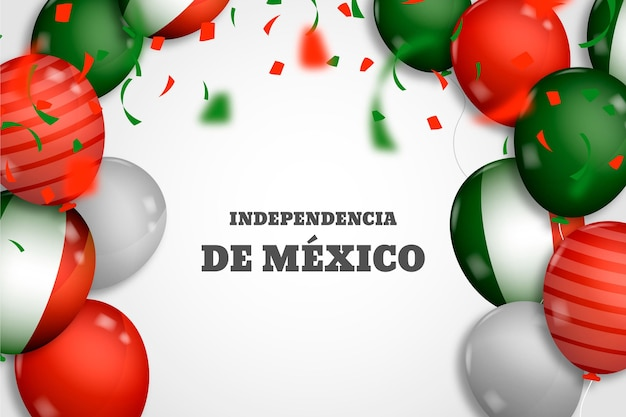 Realistic balloons on independence day of mexico background