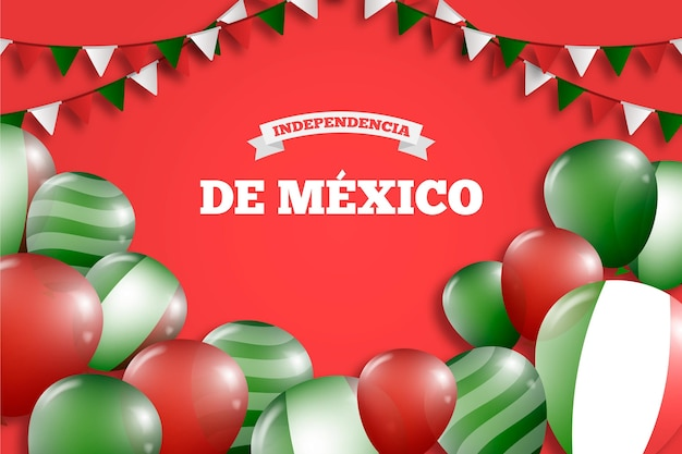 Realistic balloons on independence day of mexico wallpaper