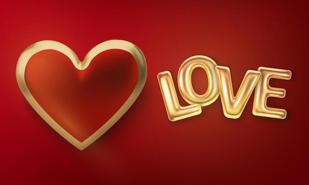 Реалистичные воздушные шары надпись любви, изолированные на красном
