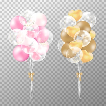 Realistic balloons pink and golden