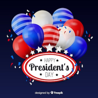 Realistic balloons president day background