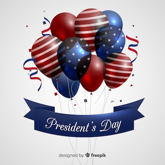 Realistic balloons presidents day background