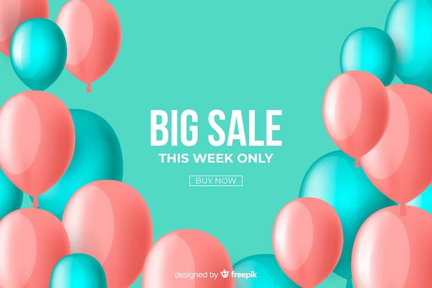 Realistic balloons sales decorative background