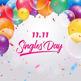 Realistic balloons singles' day event