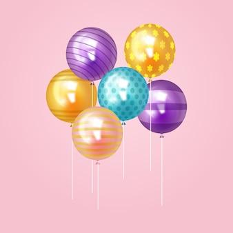 誕生日のお祝いのための現実的な風船のテーマ