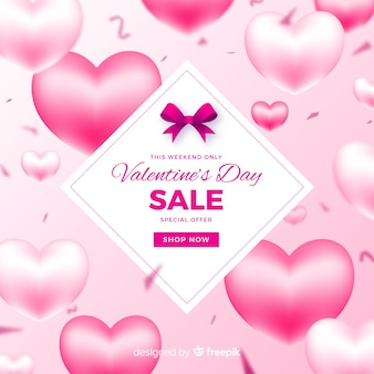 Realistic balloons valentine's day sale background