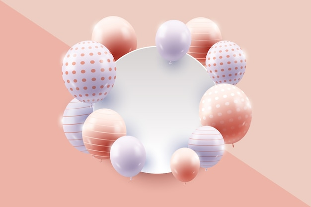 Realistic balloons with blank banner theme