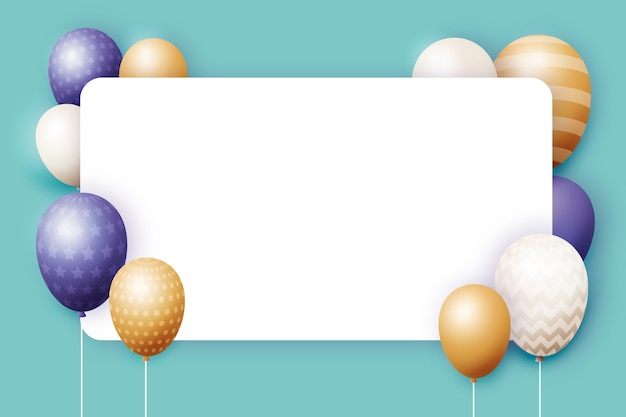 Realistic balloons with blank banner