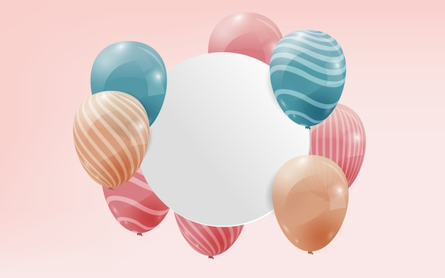 Realistic balloons with copy space banner
