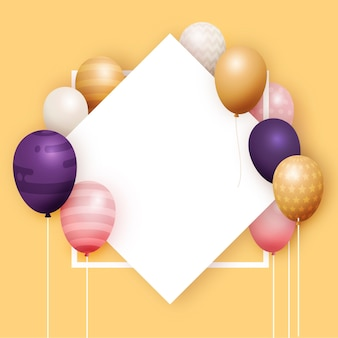 Realistic balloons with empty banner