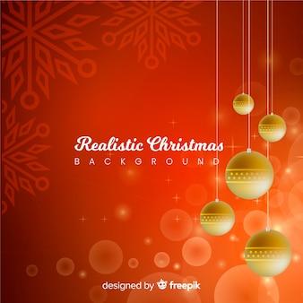Realistic balls christmas background
