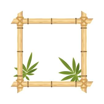 白で隔離される現実的な竹フレーム。ベクトルイラスト。