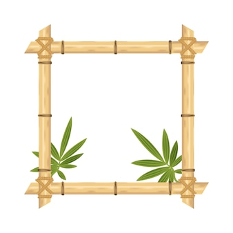 Realistic bamboo frame  isolated on white.  vector illustrations.
