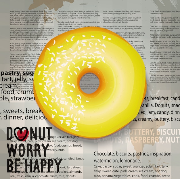Realistic banana color donut.