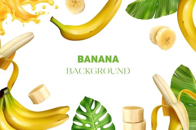 Реалистичная банановая рамка фоновой иллюстрации