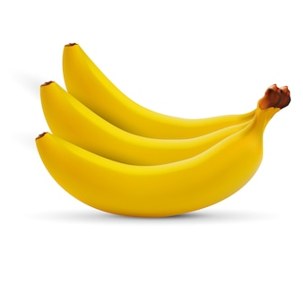 Realistic banana isolated on white