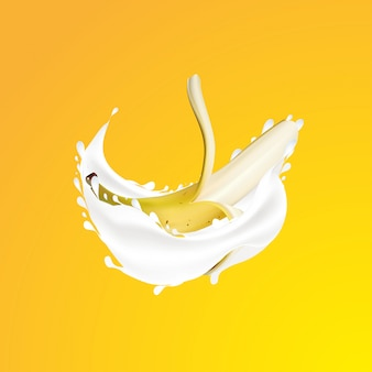 Realistic banana and milk splash