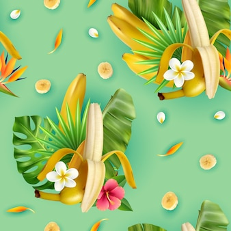 バナナ果実の熱帯leavrs花とターコイズのスライスの組成を持つ現実的なバナナパターン