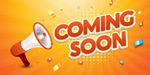 Realistic banner coming soon for online shop template