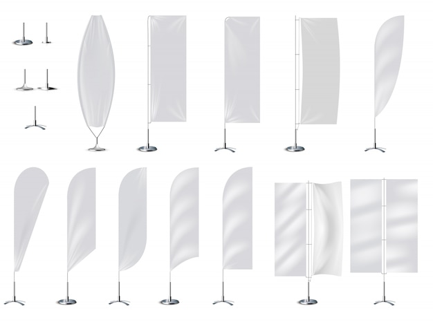 Realistic banner flag 3d mockup on white