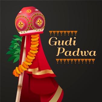 Realistic banner for gudi padwa