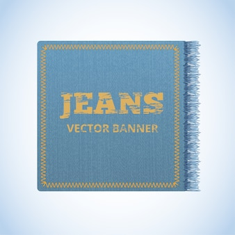 Realistic banner of jeans. realistic denim banner with texture and fringe.