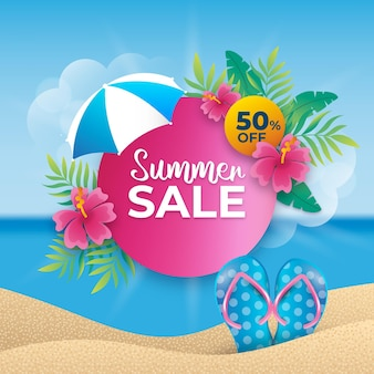 Realistic banner summer sale banner