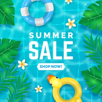 Realistic banner for summer sale