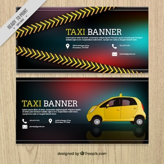 Realistic banner for taxi service