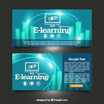 Realistic banners of digital learning
