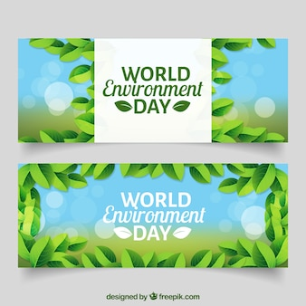 Realistic banners for world environment day